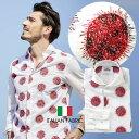 イタリアシャツ 日本製 イタリア生地 メンズシャツ 太陽 刺繍 セミワイド コットン 300666 GALLIPOLI camiceria ガリポリカミチェリア