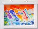 立川 陽介/Yosuke Tatsukawa:赤い日の山脈【水彩画】【アート】【インテリア】-商品代購
