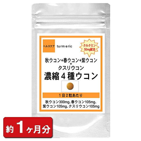 クルクミン50mm配合濃縮4種ウコン60粒(約1ヶ月分)(お酒サプリウコン加工食品タブレット天然美容