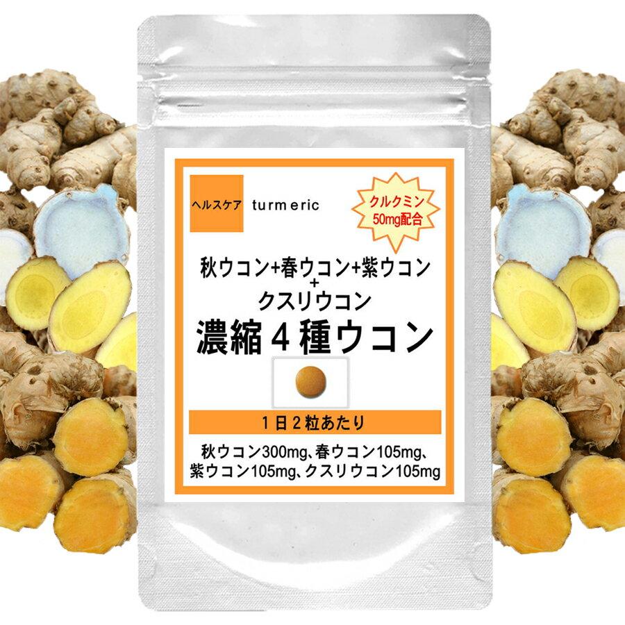 ポイント5倍クルクミン50mm配合濃縮4種ウコン60粒(約1ヶ月分)(お酒サプリウコン加工食品タブレ