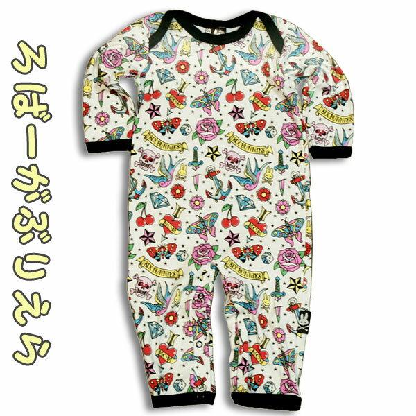 (シックス バニーズ) SIX BUNNIES 長袖ベビー服【ロンパース/カバーオール】オールドスクール モチーフ /オールドスクール タトゥー スワロー ロック 出産祝い 男の子 女の子