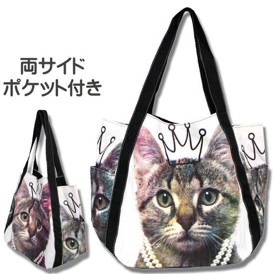 【夢見る猫王子】トートバッグ、エコバッグ サイドポケット付【ねこ CAT キャット トートバッグ かばん 通販】【動物祭り】
