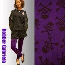 【スカル ドクロ】レギンス・気品の紫 【紫 黒 ガイコツ 骸骨 髑髏 ロック ロックンロール パンク】