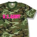 ショッピングゲーム 迷彩Tシャツ U.S.ARMY カーキ・グリーン×蛍光ピンク【半袖】Tシャツ 軍物 アメリカ陸軍 サバゲー サバイバルゲーム