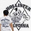 【S】【M】【L】【XL】バイカーTシャツ・HOLLISTER CALIFORNIA・ホリスターカリフォルニア(半袖Tシャツ)白 チョッパー ロングフォーク ロカビリー ハーレー アメリカンバイク アメカジ ストリート メンズ レディース 男性 女性