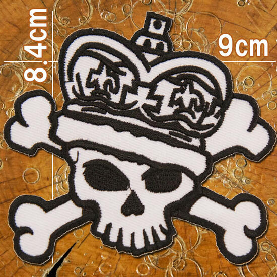 【スカル ドクロ】刺繍アイロンワッペン・アップリケ・パッチ【キング・スカル・ドクロ】白