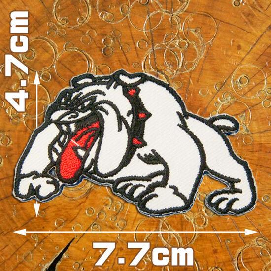 刺繍アイロンワッペン・アップリケ・パッチ【ブルドック/白】【動物祭り】
