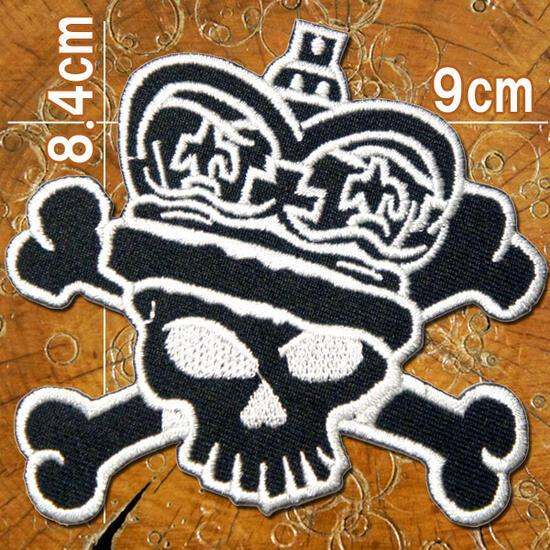 【スカル ドクロ】刺繍アイロンワッペン・アップリケ・パッチ【キング・スカル・ドクロ】黒