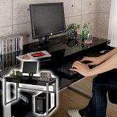 シンプルデスク 送料無料 ガラスデスク パソコン ガラスPCデスク パソコンラック PCラック 書斎 子供部屋 オフィス 机 つくえ 強化ガラス天板 キーボードスライダー ブラック 黒 大人 シンプルモダン おしゃれ パソコンデスク あす楽対応