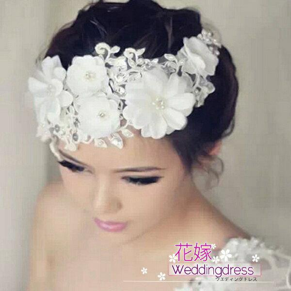 ヘッドドレス 髪飾り【即納】ラインストーンヘッドドレス ウェディング 結婚式 ブライダル お花とパールでかれんな花嫁 ヘッドアクセサリー キラキラストーン ヘアアクセサリー パーティー 二次会 にぴったり