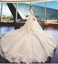 レースドレス ウエディングドレス ゴージャス オリジナル トレーン ウェディングドレス aライン ボリューム 結婚式 花嫁 二次会 披..