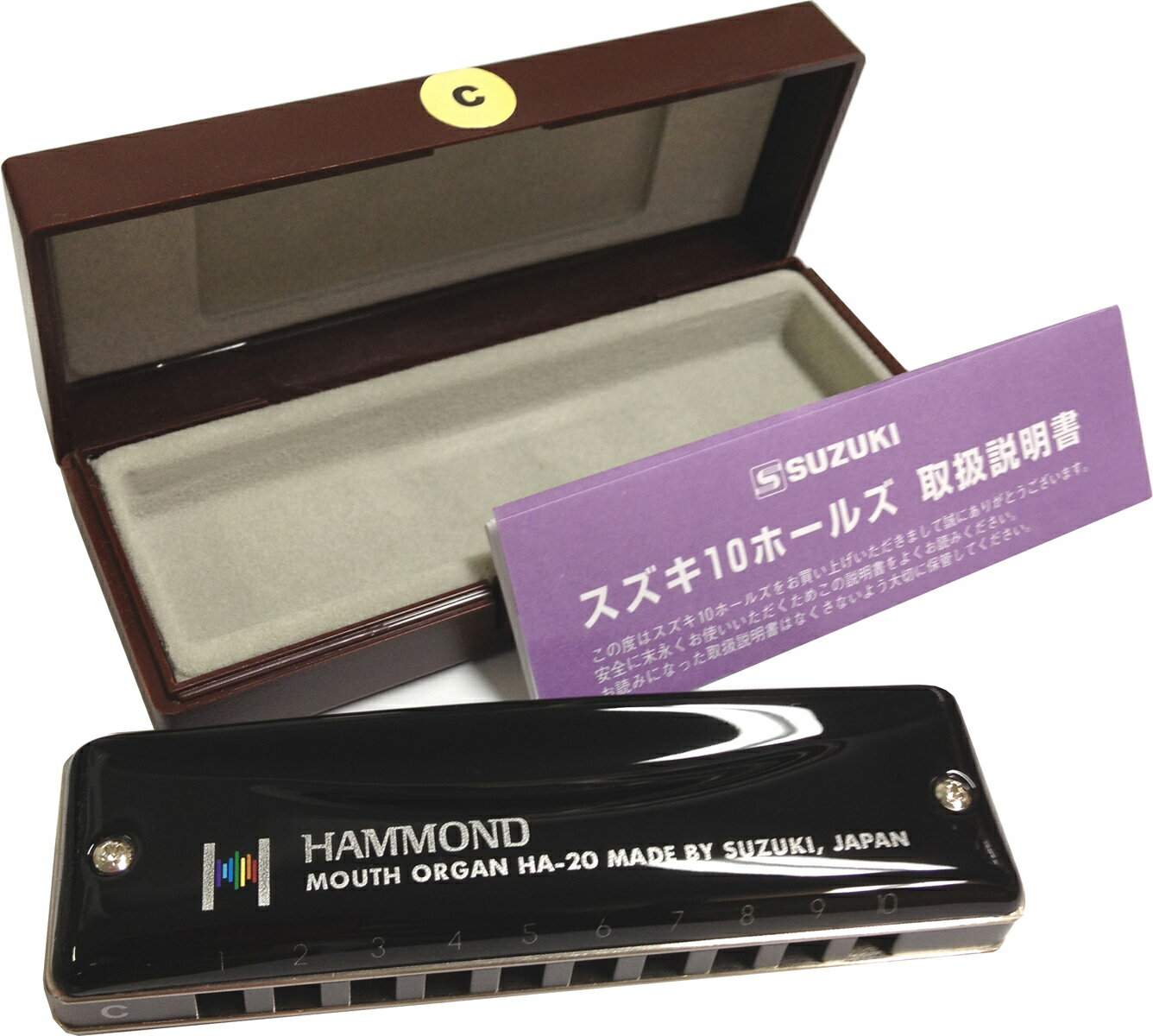 おすすめ スズキ テンホールズハーモニカ ハモンド HA-20 日本製 ブラックカバー 1…...:gakkiwatanabe:10000998
