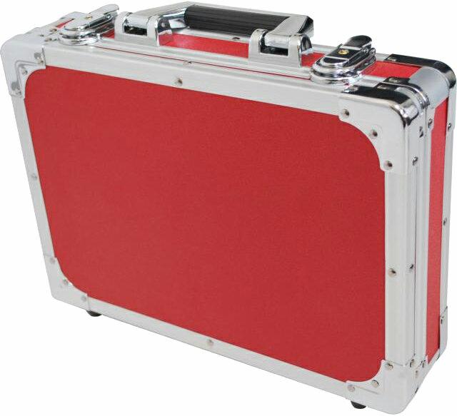 エフェクターケースSサイズ蓋と分かれるセパレートタイプ箱形ハードケースカラーレッドエフェクターボード
