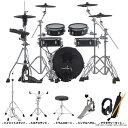木製浅胴シェルのパッドで構成された省スペース・キット ◆ セット内容 本体:VAD306  x1 ハイハットスタンド x1 スネアスタンド x1 ドラムスローン(イス) x1 シングルペダル x1 アクセサリーキット(スティック/スティックケース/ヘッドホン) x1   ◆ VAD306 V-Drums Acoustic Design キット構成 ドラム・サウンド・モジュール:TD-17×1 スネア:PDA120LS-BK×1 タム1:PDA100L-BK×1 タム2:PDA100L-BK×1 タム3:PDA120L-BK×1 ハイハット:VH-10×1 クラッシュ1:CY-12C×1 クラッシュ2:CY-12C×1 ライド:CY-13R×1 キック:KD-180L-BK×1 ドラム・コンビネーション・スタンド:DCS-10×3 オール・パーパス・クランプ:APC-30×1※キック・ペダル、スネア・スタンド、ハイハット・スタンド、椅子、SDカードは製品に含まれません。 【付属品】音源用マウント ACアダプター 専用接続ケーブル 接続ケーブル(クラッシュ2用) ドラム・キー セットアップ・ガイド 取扱説明書(保証書)  【外形寸法】 幅:1,300 mm 奥行き:1,200 mm 高さ:1,200 mm  【質量】 35.3 kg   VAD306と、音源 TD-17 の オススメポイント●毎日の練習をサポート 練習に役立つコーチ機能搭載。 日々の基礎練習をしっかりサポートしてくれます。 ●Bluetooth搭載 Bluetooth搭載でスマホと簡単に接続可能。 自分の好きな楽曲を流しながら楽しくドラムを叩けます。 ●高音質なサウンドモジュール V-Drumsのフラグシップ音源TD-50 のサウンド・エンジンを継承。 手足の動きを忠実にサウンドに反映し、アコースティック・ドラムでも通用する正確なテクニックを磨くことが可能です。 ●アコースティック・ドラムさながらの演奏感 ドラムの演奏の中でも重要なスネアは12インチ・サイズの大口径スネア用パッドを採用。 ハイハットは、スタンドに装着しペダル・ワークに合わせて実際に上下動するVハイハットVH-10を採用。 ●コンパクトなサイズ感と静粛性 VADシリーズの中で最もコンパクトで自宅にも置きやすいサイズ感。 また、オールメッシュパッド採用で静粛性にも優れています。 ●宅録にも最適 パソコンと USB ケーブルで接続可能。 MIDI やオーディオ信号を録音/再生することができます。 ※USB AUDIO として音声を送受信するには、USBドライバーのインストールが必要です。   ◆ VAD306 V-Drums Acoustic Design VAD306は、V-Drums Acoustic Designの中でも省スペース性にこだわったモデルで、アコースティック・ドラムのルックスを保ちつつ、コンパクトなサイズを実現したキットです。設置面積はこれまでのV-Drumsのスタンダード・モデルのキットと同じサイズで、自宅や小さなステージに最適です。浅胴のシェルはスペースを取らず、軽量ですが、ドラマーがすぐに馴染めるような自然な打感で演奏することができます。タムとシンバルはダブル・レッグのコンビネーション・スタンドに取り付ける仕様で、アコースティック・ドラムさながらのルックスを実現。音源モジュールは自然で表現力豊かなサウンドを搭載したTD-17を採用。理想的なアコースティック音色と高い演奏性を実現します。  ◆ Standard Features 木製浅胴シェルとダブル・レッグのスタンドを備えた省スペースのV-Drums Acoustic Designキット。 新たにアコースティック・ドラム・キットを10種類追加した音源モジュールTD-17を採用。 専用設計の12インチのスネアとフロア・タム、10インチのタム×2台、18インチのバス・ドラムをセットアップ。 シンバル・パッドは、V-Drumsで定評のある12インチのクラッシュ・シンバルCY-12C×2枚、13インチのライド・シンバルCY-13R、12インチのハイハットVH-10をセットアップ。 ドラム・サウンドは自分好みにカスタマイズが可能。 スマートフォンなどのモバイル機器をBluetoothで無線接続し、TD-17からオーディオ再生が可能。 ドラミング技術を磨くためのコーチ・モードをはじめとした豊富な練習機能を内蔵。  ※上記製品仕様は2021年07月時点のものです。 随時更新するよう努めてはおりますが、最新状況は常に変動するため合わせてメーカーでもご確認下さい。