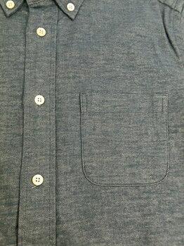マニュアルアルファベットストレッチ素材フランネルボタンダウンシャツBlue日本製