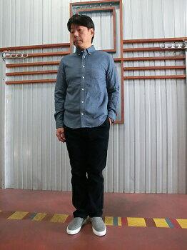 マニュアルアルファベットストレッチ素材フリーフランネル素材ボタンダウンシャツBlueブルー日本製【送料無料】【あす楽対応】