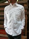 FOB シャープなシルエットが好評 気どらない白シャツならコレ!オックス素材 スリムワークシャツ ホワイト送料無料