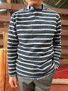 Men's Clothing - 【SALE】Hub&Spoke ハブアンドスポーク パイルボーダー ボートネックカットソー【あす楽対応】