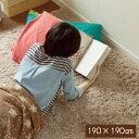 シャギーラグ 洗える ラグ ラグマット 190×190cm 無地ラグ カーペット ラグ マット 洗える 絨毯 じゅうたん シャギー