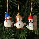 【xmas限定販売】《クリスマスオーナメント》 ミニ雪だるまトリオ ウィンタースポーツ