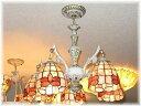 【送料無料!】★新品・NEWタイプ!★ステンドグラス風・天然貝殻細工シャンデリア【アンティーク/シャンデリア/LED/ 照明】