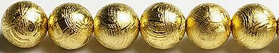 業界最安値に挑戦中!8mmギベオン(メテオライト)ゴールドカラー粒売りビーズ ロジューム加工済み