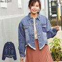 裾の断ち切りカットが印象的なデニムジージャン M/Lサイズ リメイク風デニムジャケット レディース ジージャン カットオフ ゆったり アウター カジュアル