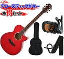 ARIA(アリア) アコースティックギター/お気軽4点セット「TG-1 SR:シースルーレッド+小物3点」 TG1【送料無料】【smtb-KD】【RCP】:-..