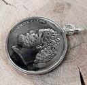 シルバーネックレス/メンズ/COIN/コイン/ニッケル&Silver925ギリシャ10ドラクマリアルコインペンダントネックレス[シルバーアクセサリー]本物のコインのペンダントトップです!