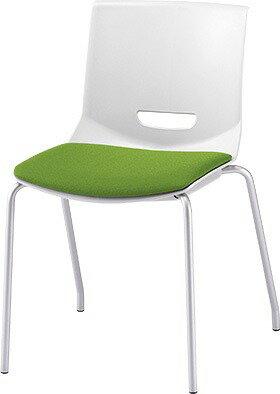 ミーティングチェア 会議用椅子  肘無し スタッキングチェア  会議椅子 会議室 イス 椅子 CHAIR 持ち運びしやすい 背スリット  PLUS プラス 4本脚 UB MC-UB03SE イエローグリーン 黄緑 キャスター付きでクション付き、背の穴がもち運びにも便利です。