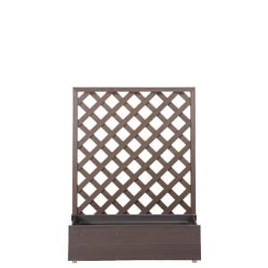 <樹脂 プランター ラティス 置くだけ>プランターボックス付きウッディープラフェンス 高さ…...:garden-life:10000256