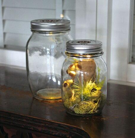 GLASS JAR WITH LED Sサイズ蓋穴あり【LED付きグラスWFDR2011-FA】