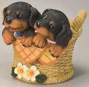 2匹の子犬付きプランター 【ダックス】No.604