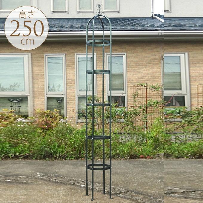 ガーデニングタワー直径38×高さ250cmアイアンオベリスクバラローズ鉢タワートレリスアプローチ庭ガ