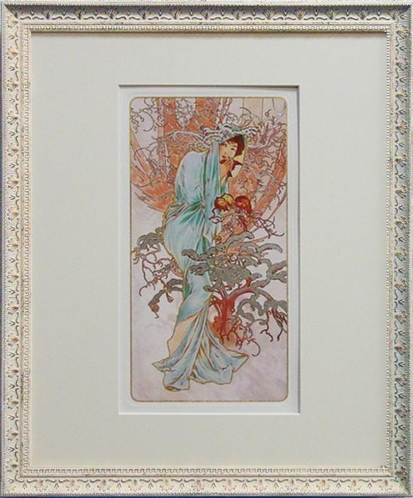 アルフォンス・ミュシャ『Winter』冬ミックスドメディア複製画(アートポスター)額縁付き