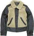 ショッピング在庫 (ダブルアールエル) RRL Virgil シアリング レザー モト ジャケット ラム毛皮 ブラック メンズ Shearling Leather Moto Jacket 【あす楽】