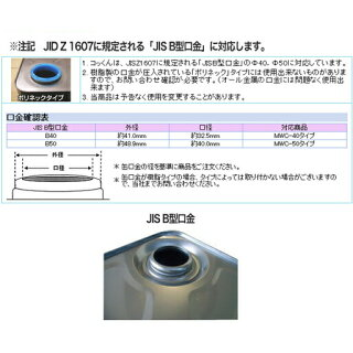 ワンタッチ給油栓コッくんBタイプ口金φ40用MWC-40BS