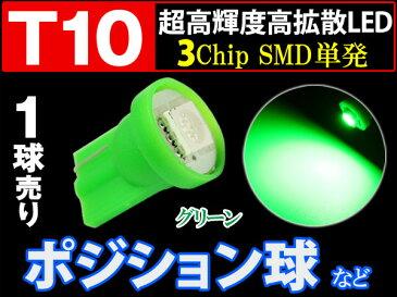 【20%OFFセール!3/30迄】T10 LED 緑 3chip SMD バルブ 単発 グリーン 1個 ポジション ラインセンス ナンバー crd