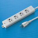 【訳あり 新品】3P・4個口・3Pプラグ3mコード・抜け止め・マグネット付き簡易包装の(工事物件)電源タップ TAP-K4-3 サンワサプライ TAP-K4-3