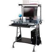 パソコンデスク ガラス製 幅80cm PCデスク パソコンラック PCラック プリンターラック キーボードスライダー付き 収納 学習机 パソコン机 勉強机 キーボードスライダー 机 つくえ テーブル ガラス オフィス おしゃれ