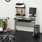 パソコンデスク ガラス製 パソコンラック パソコン机 PCデスク 学習机 勉強机 キーボードスライダー付き つくえ テーブル ガラス オフィス おしゃれ