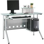 パソコンデスク ガラス ガラス製 デスク 机 パソコン机 PCデスク 学習机 勉強机 学習デスク 書斎机 書斎デスク DVD収納 CD収納 パソコン 収納 ラック 棚 子供 キーボードスライダー つくえ テーブル クオフィス おしゃれ