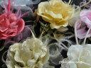 【同梱可能】羽つき大きめ華やか薔薇コサージュ 白・黒・赤・ピ...