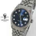 【中古】仕上済 ロレックス デイトジャスト 16234G W番 ブルー文字盤 10P純正新ダイヤ メンズ 自動巻き 腕時計