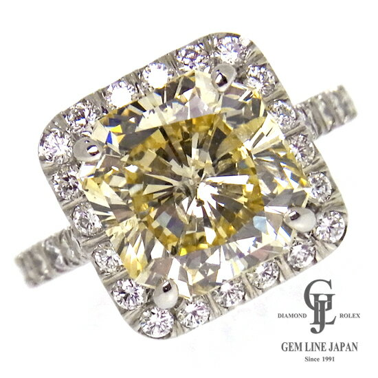 【新品】5.292ct ライトイエローダイヤ 指輪 プラチナ ダイヤモンドリング 他0.69ct レディース