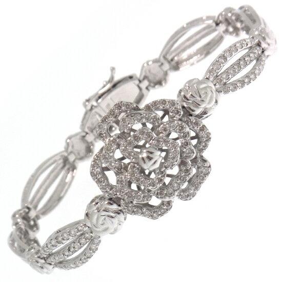 フラワーモチーフ 豪華ダイヤモンド1.58ct K18WGブレスレット【】 花 バラ 薔薇デザイン ラウンドカット ホワイトゴールド製【優れました】