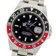 【中古】仕上げ済み ロレックス GMTマスターII 赤黒ベゼル 16710 U番 ステンレススチール製 黒文字盤 自動巻メンズ腕時計
