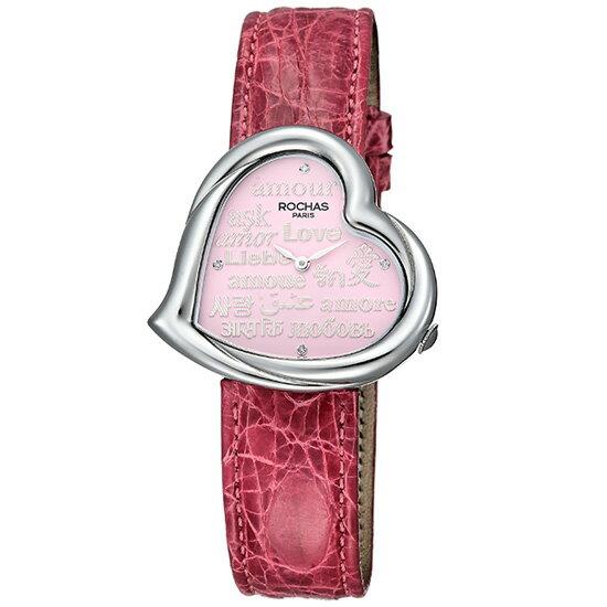 【ROCHAS】ロシャス RJ68 ハート型 ピンク文字盤 ステンレススチール製×ピンクカラークロコレザー 38mm スイス製クォーツ式レディース腕時計【新品】 フランスを代表するファッションブランド 婦人用 正規品 SS/ワニ革