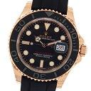 ロレックス ヨットマスター40 エバーローズゴールド×オイスターフレックス 116655 ブラックダイアル スポーツ 自動巻きメンズ腕時計【新品】