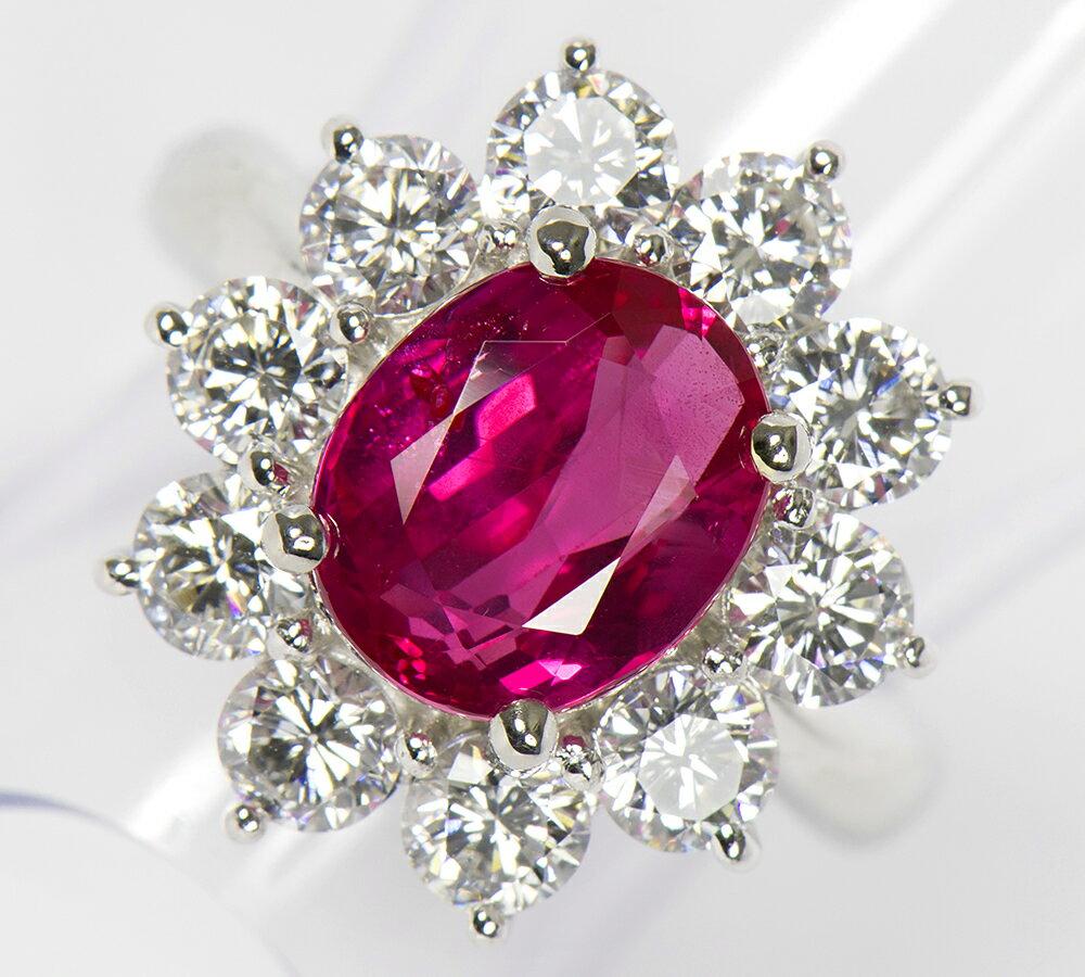 ビルマ産 非加熱 ルビー4.05ct ダイヤモンド計2.18ct リング プラチナ【中古】(2200000140128)